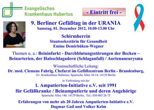 Ankündigung zum 9. Berlin Gefäßtag, Schirmherrin: Staatssekretärin für Gesundheit, Frau Emine Demirbüken-Wegner