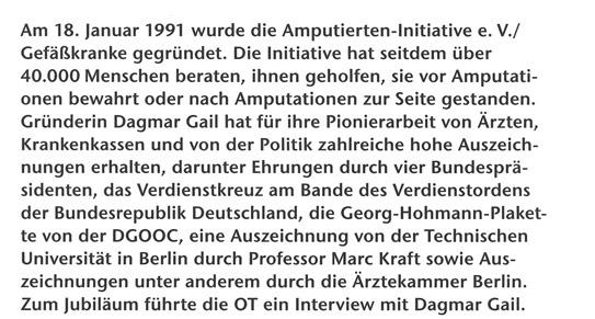 25-jähriges Bestehen der 1. Amputierten-Initiative e. V. / Gefäßkranke