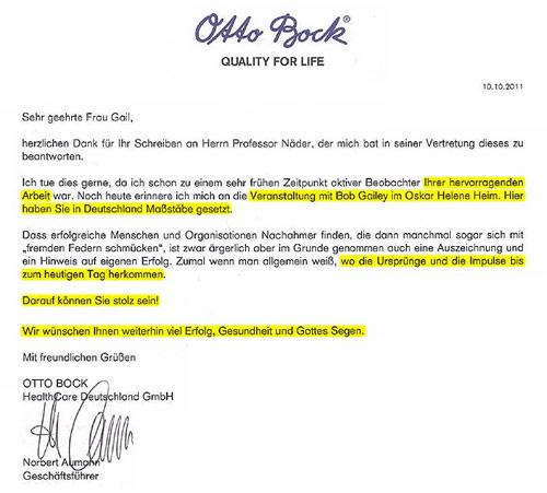 Brief Firma Otto Bock